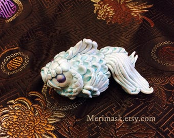 The Fish #1 hand sculpted figurine ...sculpey polymer clay goldfish koi sculpture numbered collectible