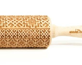 Alhambra Andalusia 2, Rolling Pin, Engraved Rolling, Embossed rolling pin, Wooden Rolling pin