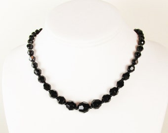 Vintage Necklace with Faceted Black Glass Beads