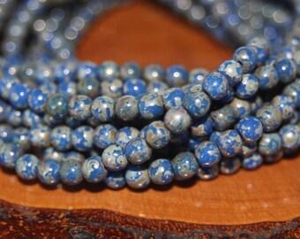 Czech Glass Beads, 4mm Round Druks, 50 Beads, 6mm Round Druks, 25 Beads