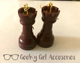Chess Piece Rook Castle Board Game Earrings - 2 Colors