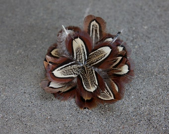 Fancy Pheasant Boutonniere for Groomsmen