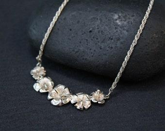 Sterling Hawaiian Flower Necklace, Silver Plumeria Necklace, Flower Jewelry, Tropical Necklace, Sterling Hawaii Pendant