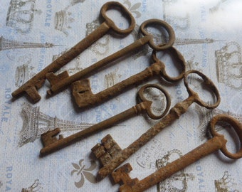 6 Large Antique Rusty Skeleton Keys Antique French, Large Circa approx 1850 - 1900