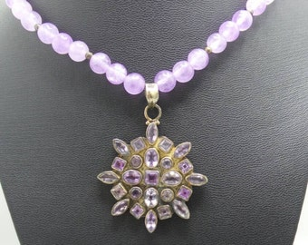 Handmade Amethyst beaded necklace with Sterling Silver and Amethyst pendant.