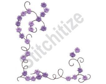 Climbing Vine Corner - Machine Embroidery Design, Climbing Vine, Vine, Flowers, Corner