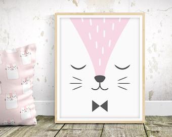 Sleepy Fox - Nursery Print - Children's Wall Art - Baby Nursery Decor