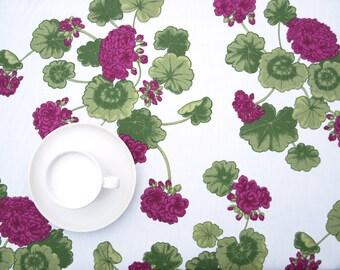 Tablecloth white green purple Geranium Botanical Modern Scandinavian Design ,also napkins , runners , curtains available, great GIFT
