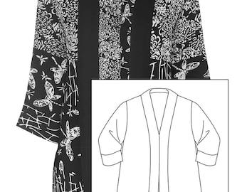 Black Kimono Robe,  Plus Size Cardigan 1x 2x,  Boho Cardigan Kimono, Black Kimono Cardigan, Women's Plus Size Japanese Jacket, 1x 2x