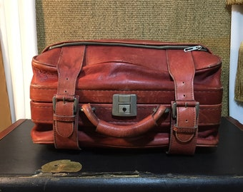 Vintage 1980's Dark Red Leather Small Size Suitcase / Carry On Bag