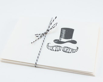 Moustache Top Hat Thank You Blank Cards Folded Set of 5 hand stamped teacher gift with envelopes masculine funny