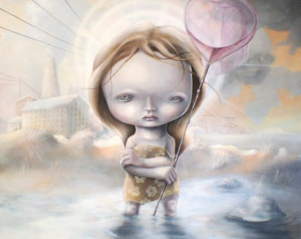"""Limited edition Giclee print """"The Searching the blue"""" pop surrealism, popart, lowbrow art, juxtapoz, new contemporary, urban art"""