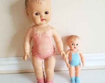 "Sun Rubber Squeak Doll, Girl Squeak Doll, 13"" Tall, Ruth E Newton, Rubber Squeak Toy, Squeaky, Boy Doll, Squeaky, Squeak Doll, 1956, 1950s"