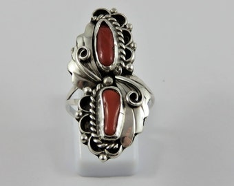 Sterling Silver Native Carnelian Ring- SIZE 8 1/4