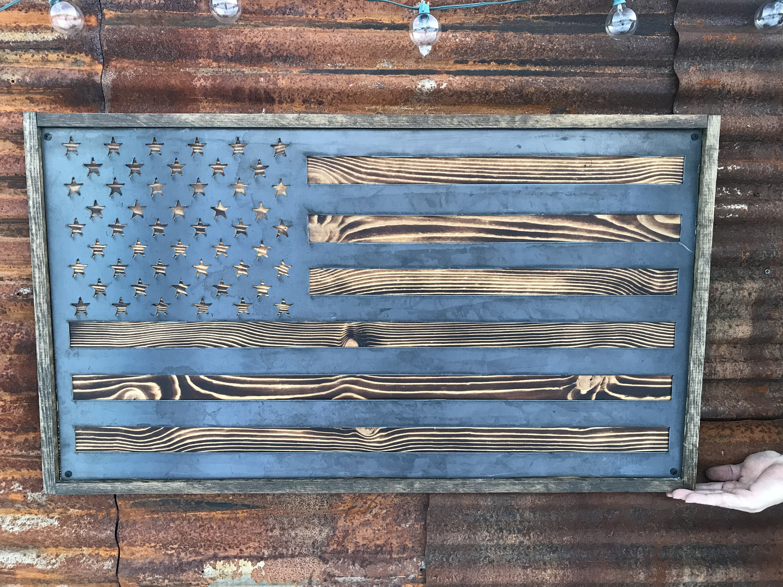 Rustic Metal Wood Flag, USA Flag, American Flag Sign, Wood Flag ...
