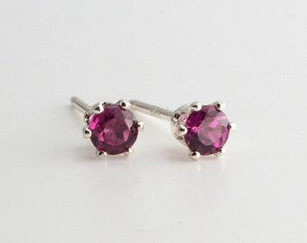 Genuine Stone Studs, Red Rhodolite Garnet Post Earrings, Rhodolite Studs, Handmade Earrings, Minimalist Jewelry, Birthstone Earrings, 3mm