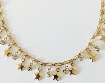 GOLD STAR CHOKER - gold choker necklace - star choker star necklace celestial necklace astrology necklace dainty choker - gold choker chain