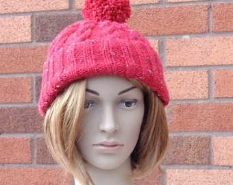 Pink beanie hat, knit pom pom hat, knit pink toque, cabled beanie, winter hat, ladies knit hat, warm knitted hat, uk knitted hat