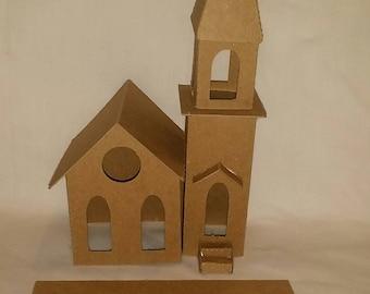 Vintage Church 2- Putz Style Cardboard House Large
