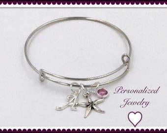 Starfish Bangle Bracelet, Silver Starfish Charm Bangle Bracelet, Women's and Girls Birthstone Starfish Bracelet, Personalized Bangle Gifts