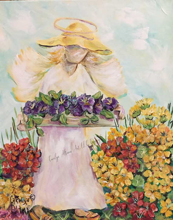 My Garden Angel Guardian | Angel Note Cards | Art Prints  | Original  Painting of Angel in a Garden and Flowers  | Carolyn Altman Art