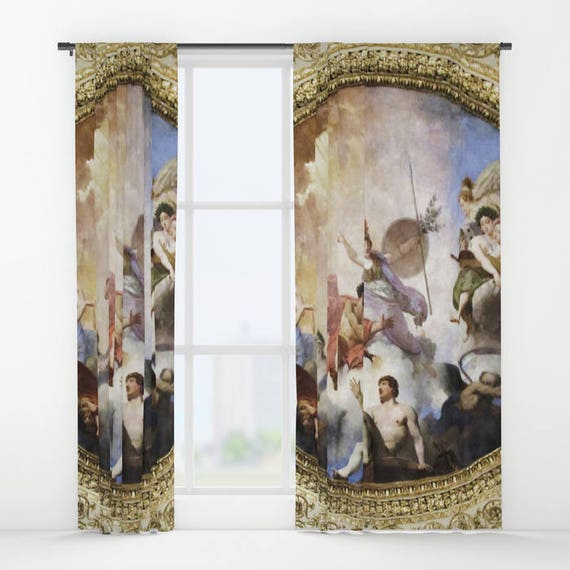 Fresco Window Curtain, Mythology Curtain, Decorative, Unique Design, Elite Decor, Office Window Curtain, Dorm, Campus, Painting, Classic