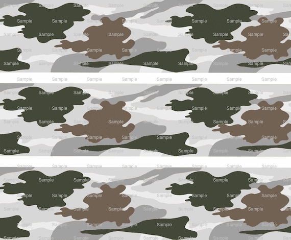 Gray Hunting Camo - Birthday Background - Designer Strips - Edible Cake Side Toppers- Decorate The Sides of Your Cake! - D9799