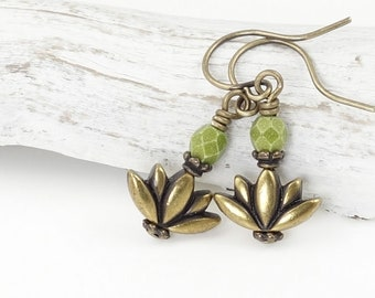 Tiny Lotus Flower Earrings - Minimalist Yoga Jewelry - Antique Brass Earrings with Avocado Moss Green Accents - Gift for Women Meditation