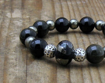Black Obsidian and Pyrite Modern Beaded Bracelet, by cooljewelrydesign, For Her Under 225