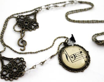 "Bohemian necklace ""sheet music: clef""-retro vintage glass brass bronze"