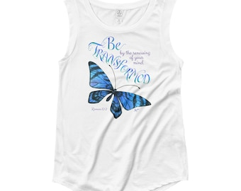 Blue Butterfly T-Shirt ~ Ladies Cap Sleeve T-Shirt ~ Butterfly Clothing ~ Be Transformed ~ Inspirational Clothing ~ Bible Verse Clothing