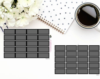 Planner Stickers Box Stickers Black Box Stickers  Hourly and Vertical Planners  For use in a variety of planners and journals HB008