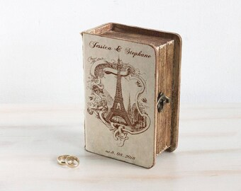 Paris Wedding box, Eiffel tower, ring bearer box, Personalized ring box, Wedding Ring Box, Еngagement box, Custom ring box, Rustic Book Box