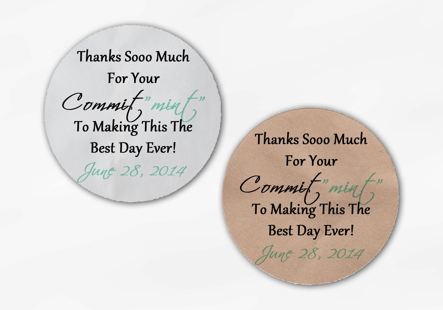 Commit Mint Wedding Favor Stickers Custom Thank