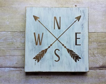 Compass Arrow / Wood Sign / Home Decor / Shelf Sitter / House Warming / Gallery Wall / Farmhouse / Nursery / Dorm Room / Masculine / Rustic