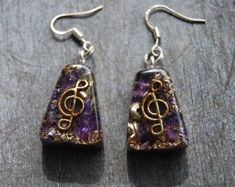 Orgonite® Earrings Music with Amethyst 925 Sterling Silver