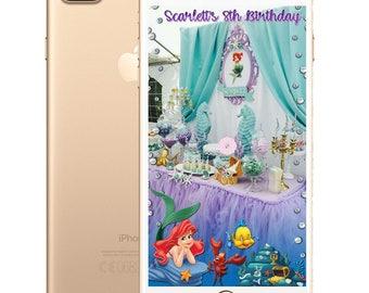 Little Mermaid/Snow White/Beauty and the Beast/Jasmine/Mulan Kids Birthday SnapChat Filters