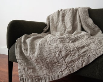 LINEN BLANKET with three France lace. Bed spread, linen summer duvet , linen throw. RAW washed & softened flax. Made by MOOshop.*26