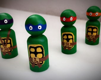 Teenage Mutant Ninja Turtles (TMNT) Hand Painted Wooden Peg Figurine