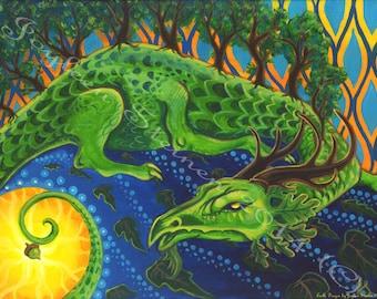 "Earth Dragon - Giclee, Print, Original Art, 13.5 x 9.5"""