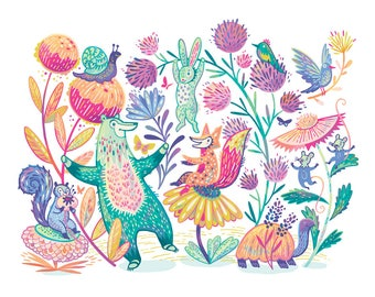 Colorful Woodland Animals art print, available in three sizes
