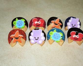 100 SEA CREATURES Milk Chocolate Dipped & Decorated Fortune Cookies Birthday, Party, Crab, Octopus, Turtle, Star Fish, Luau, Sea, Ocean