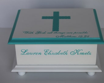 Baby Keepsake Box for Christening  Confirmation neutral  turquoise cross personalized hand painted baby gift memory box