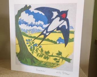Summer - artist card from original linocut print