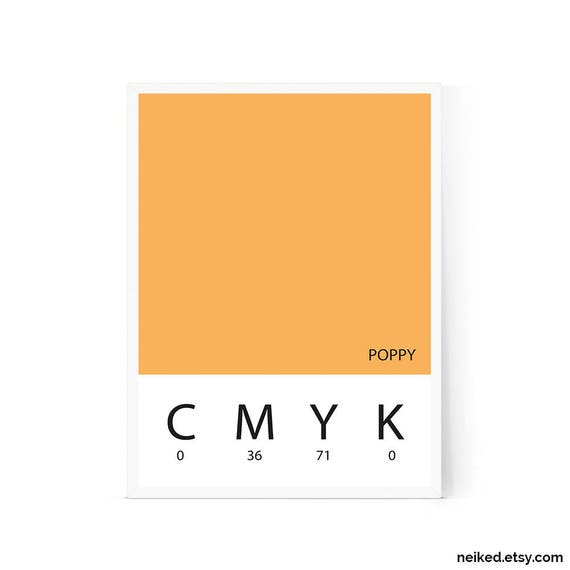 Pantone 2018 print orange Pantone art Scandinavian wall art