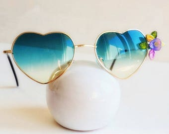Green Heart sun glasses embellished decorated sunglasses flower leafy Hippie boho Festival party Floral Eyewear summer accessories sunnies
