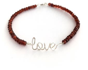 Love Garnet Gemstone Bracelet. Red Garnet lowercase love Sterling Silver Bracelet. Valentines Day Genuine Red Gemstone Bracelet
