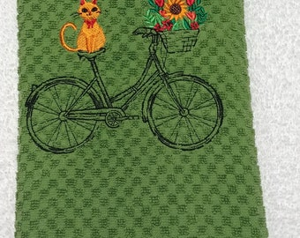 Kitchen Towel with Embroidery design of Bicycle and Orange Cat