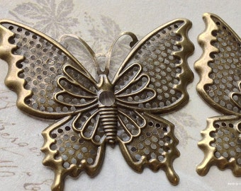 2 Pieces of 48 x 40 mm Antiqued Bronze Butterfly Charm Pendant (.am)