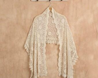 Lace Bridal Shawl - wedding shawl, lace shawl, pashmina shawl, bohemian wedding, vintage amtique lace, boho weddng, spring summer wedding,
